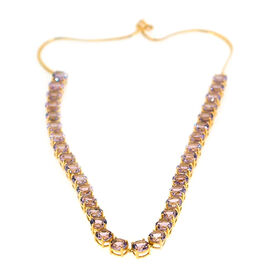 Rose De France Amethyst (Rnd) Necklace (Size 18) in Yellow Gold Overlay Sterling Silver 45.000 Ct.