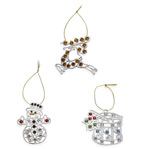 Home Decor - Set of 3 - Yellow and Multi Colour Austrian Crystal Snowman, Deer and Drum in Silver Tone