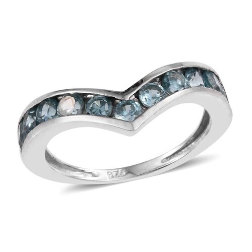 AA Natural Cambodian Blue Zircon (Rnd) Wishbone Ring in Platinum Overlay Sterling Silver 1.650 Ct.