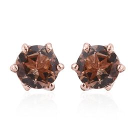 Brazilian Andalusite (Rnd) Stud Earrings (with Push Back) in Rose Gold Overlay Sterling Silver 1.000 Ct.