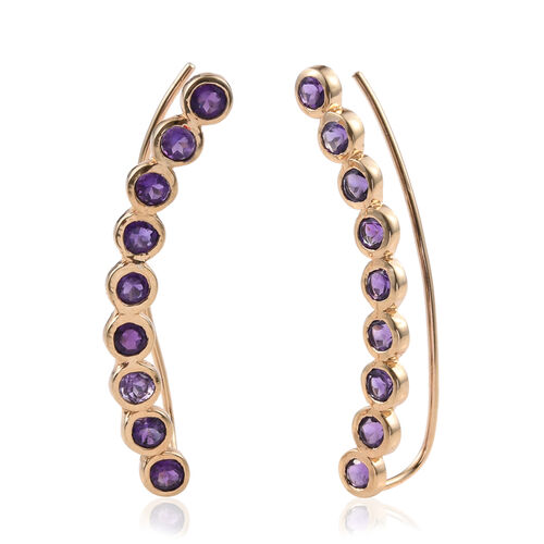 Amethyst (Rnd) Climber Earrings in 14K Gold Overlay Sterling Silver 4.000 Ct.