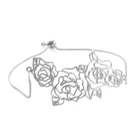 Kimberley Bloom Collection Platinum Overlay Sterling Silver Floral Adjustable Bracelet (Size 7.5), Silver wt 6.29 Gms.