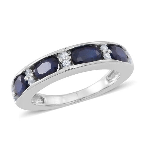 Kanchanaburi Blue Sapphire (Ovl), Natural Cambodian White Zircon Half Eternity Ring in Rhodium Plated Sterling Silver 3.000 Ct.