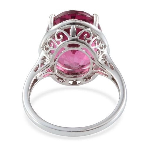 Radiant Orchid Quartz (Ovl 9.00 Ct), Diamond Ring in Platinum Overlay Sterling Silver 9.050 Ct.