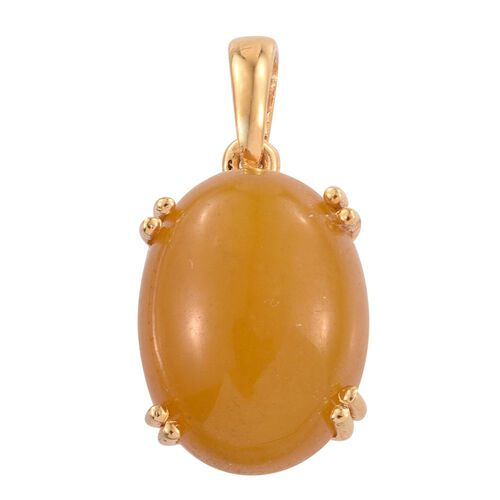 Yellow Jade (Ovl) Pendant in 14K Gold Overlay Sterling Silver 10.750 Ct.