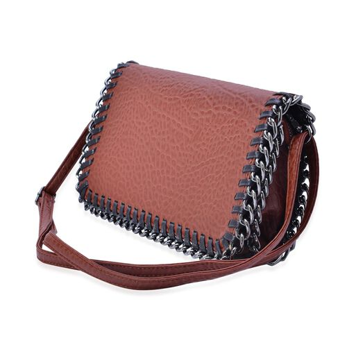 Croc Embossed Chocolate and Black Colour Crossbody Bag with Adjustable Shoulder Strap (Size 29x16x4 Cm)
