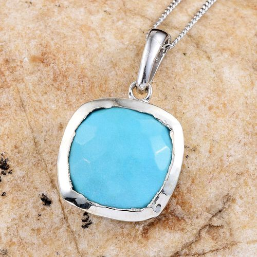 Arizona Sleeping Beauty Turquoise (Cush) Solitaire Pendant with Chain in Platinum Overlay Sterling Silver 5.750 Ct.