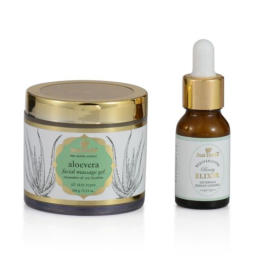 (Option 2) Just Herbs Aloevera Facial Massage Gel (100g) and Gotukola-Indian Ginseng Rejuvenating Beauty Elixir (Oily) (15ml)