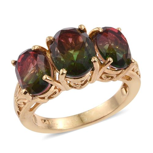 Bi-Color Tourmaline Quartz (Ovl 2.25 Ct) 3 Stone Ring in 14K Gold Overlay Sterling Silver 5.250 Ct.