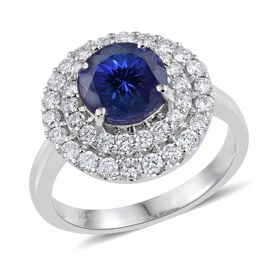 ILIANA 18K W Gold AAA Tanzanite Round 2.55 Ct, Diamond Engagement Ring 3.40 Ct. with SI G-H Diamonds.