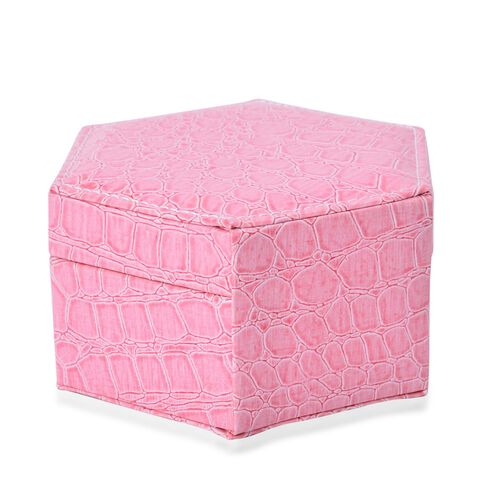 Pink Colour Croc Embossed Hexagon Shaped 2 Layer Jewellery Box with Mirror inside (Size 14.5x12.5x7.2 Cm)