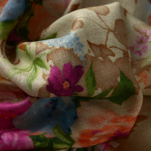 100% Modal Multi Colour Floral Pattern Beige Colour Scarf (Size 200x70 Cm)