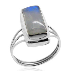 Royal Bali Collection Rainbow Moonstone (Oct) Solitaire Ring in Sterling Silver 8.240 Ct.