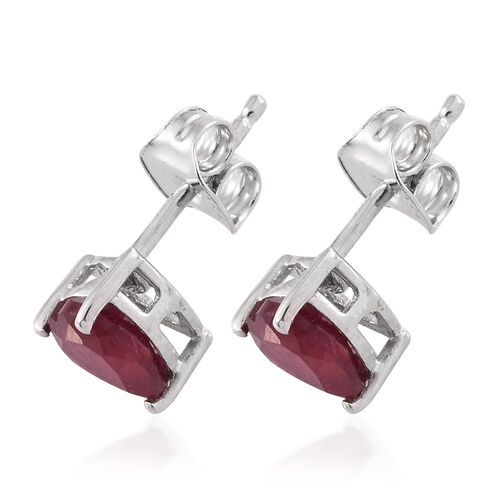 African Ruby 1.75 ct. Heart Silver Stud Earrings with Push Back in Platinum Overlay