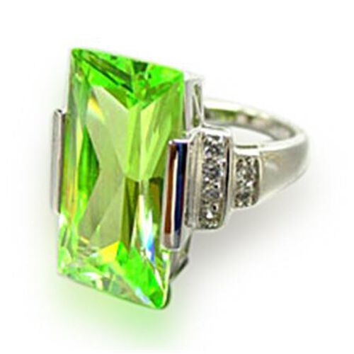 ELANZA Simulated Green and White Diamond Platinum Overlay Sterling Silver Ring   30.000  Ct.