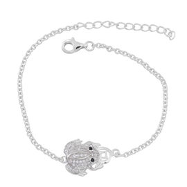 ELANZA AAA Simulated Black Diamond (Rnd), Simulated White Diamond Frog Charm Bracelet (Size 6.5 with 1 inch Extender) in Rhodium Plated Sterling Silver