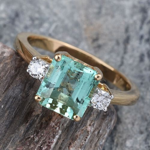 ILIANA 18K Y Gold Boyaca Colombian Emerald (Oct 2.20 Ct), Diamond Ring 2.400 Ct.