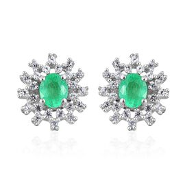 Boyaca Colombian Emerald (Ovl), Natural Cambodian Zircon Stud Earrings in Platinum Overlay Sterling Silver 1.000 Ct.