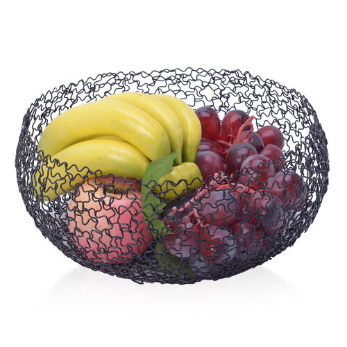 Set of 2 - Designer Inspired Round Shape Hand Made Fruit Bowl of Wire (Size 23x9 Cm, 27x11.5 Cm)