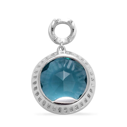 Sea Green Glass, Simulated White Diamond Pendant in Rhodium Plated Sterling Silver