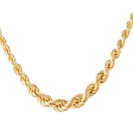Vicenza Collection 14K Gold Overlay Sterling Silver Rope Chain (Size 18 with 2 inch Extender), Silver wt 21.90 Gms.