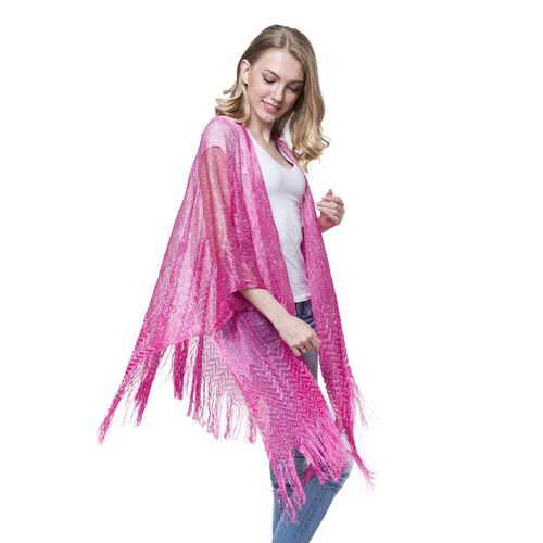 New For Season -Pink Colour Water Ripple Pattern Poncho with Long Fringes (Size 110x75 Cm)