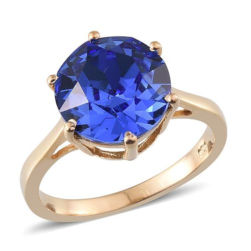 Crystal from Swarovski - Sapphire Colour Crystal (Rnd) Solitaire Ring in 14K Gold Overlay Sterling Silver 3.250 Ct.