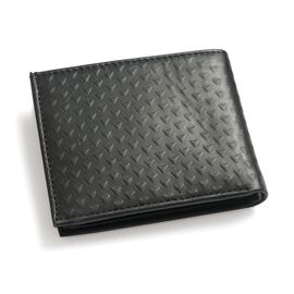 Genuine Leather Triangle Embossed Black Colour Bifold Wallet