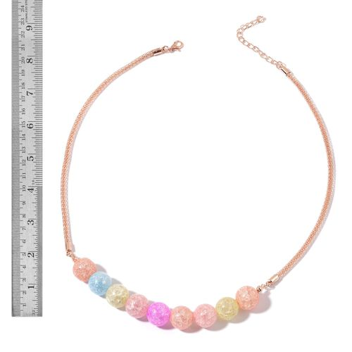 Multi Colour Glass and Simulated White Diamond Necklace (Size 20 with 2 inch Extender) and Earrings (with Push Back) in Rose Gold Tone