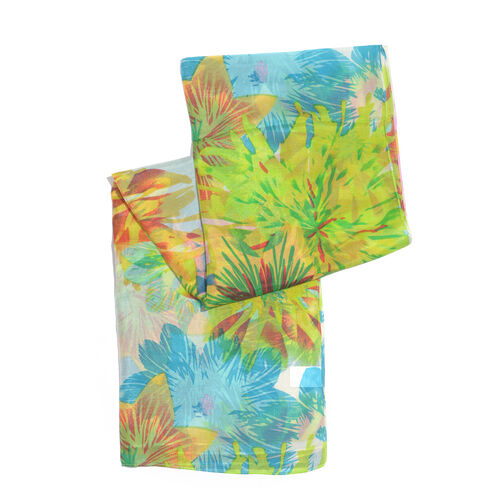 100% Mulberry Silk White and Multi Colour Floral Print Scarf (Size 175x100 Cm)
