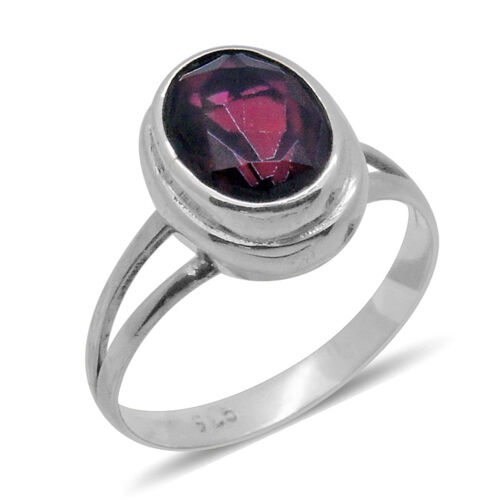 Royal Bali Collection Mystic Ruby Quartz (Ovl) Solitaire Ring in Sterling Silver 2.440 Ct.