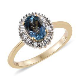 ILIANA 18K Y Gold AAA Santa Maria Aquamarine (Ovl 0.80 Ct), Diamond (SI/G-H) Ring 1.000 Ct.