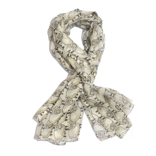 100% Mulberry Silk Cream and Black Colour Sheep Printed Scarf (Size 180x100 Cm)
