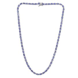 Tanzanite (Ovl), White Topaz Necklace (Size 18) in Platinum Overlay Sterling Silver 28.000 Ct.