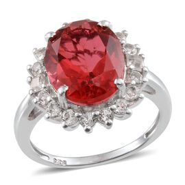 Padparadscha Colour Quartz (Ovl 4.50 Ct), White Topaz Ring in Platinum Overlay Sterling Silver 5.100 Ct.