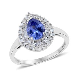 Tanzanite (Pear 1.13 Ct), Diamond Ring in Platinum Overlay Sterling Silver 1.500 Ct.