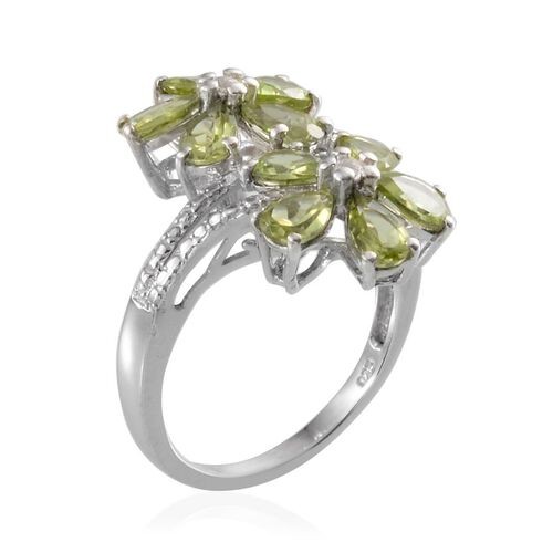 Hebei Peridot (Pear), White Topaz Twin Floral Ring in Platinum Overlay Sterling Silver 3.650 Ct.