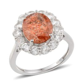 Tanzanian Sun Stone (Ovl 3.50 Ct), White Topaz Ring in Platinum Overlay Sterling Silver 5.250 Ct.