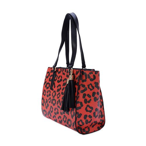 Charlotte Leopard Pattern Tote Bag with Tassels (Size 29x26x9 Cm)