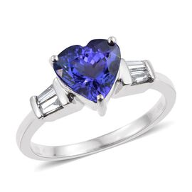 RHAPSODY 950 Platinum 2.50 Carat AAAA Tanzanite And Diamond (VS/E-F) Heart Ring