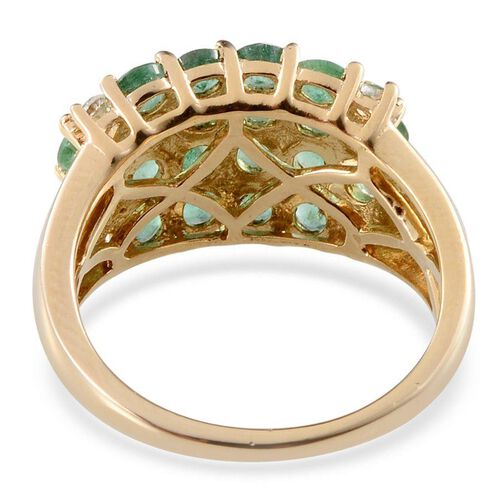 Kagem Zambian Emerald (Rnd), White Topaz Ring in 14K Gold Overlay Sterling Silver 2.400 Ct.