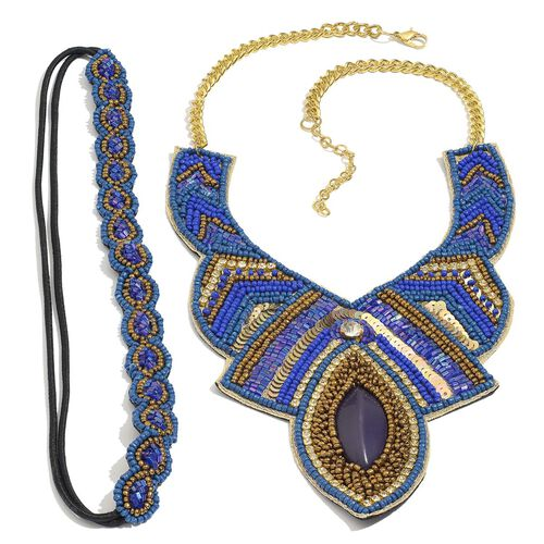 Lapis and Multi Colour Seed Beaded Necklace in Gold Tone and Stretchable Headband