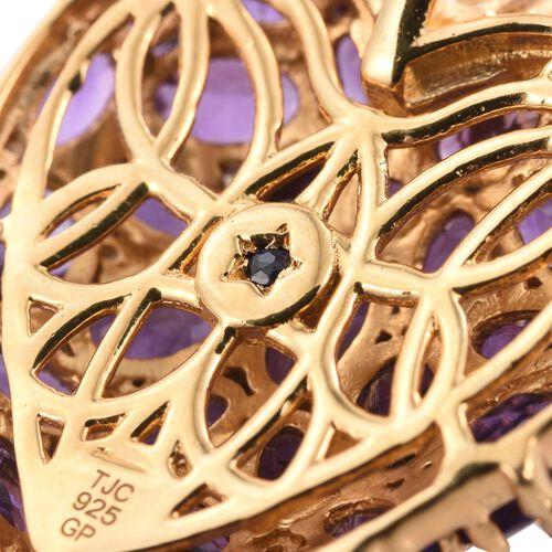 GP Amethyst (Ovl), White Topaz and Kanchanaburi Blue Sapphire Pendant in 14K Gold Overlay Sterling Silver 7.500 Ct.