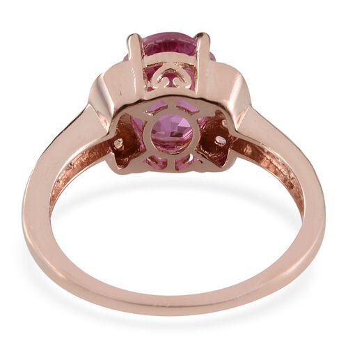 Kunzite Colour Quartz (Ovl 3.25 Ct), White Topaz Ring in Sterling Silver 3.750 Ct.
