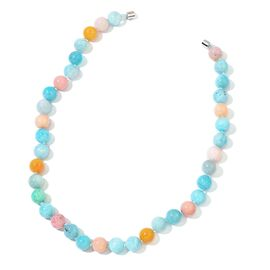 Rare AAA Russian Amazonite and Peruvian Pink Opal Round Beaded Necklace (Size 20) in Rhodium Plated Sterling Silver 420.000 Ct.