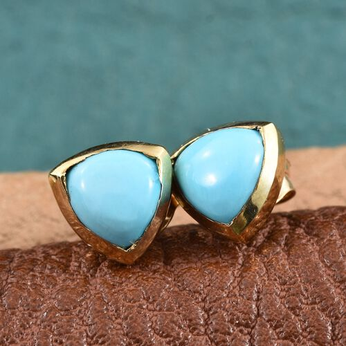 Arizona Sleeping Beauty Turquoise (Trl) Stud Earrings (with Push Back) in 14K Gold Overlay Sterling Silver 1.500 Ct.