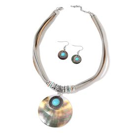Black Shell, Blue Howlite, Simulated Blue Diamond and Simulated Diamond Necklace (Size 20 with 2 inch Extender) and Hook Earrings in Silver Tone with Stainless Steel