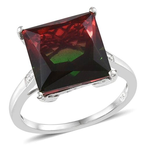 Tourmaline Colour Quartz (Sqr) Solitaire Ring in Platinum Overlay Sterling Silver 7.500 Ct.