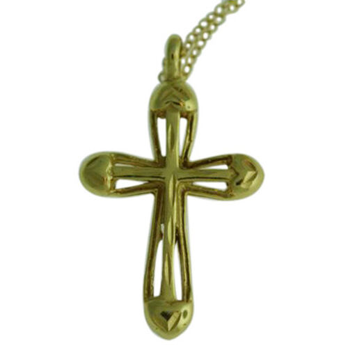 Close Out Deal 14K Gold Overlay Sterling Silver Art Nouveau Cross Pendant With Chain, Silver wt 3.37 Gms.