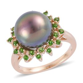 14K Y Gold Tahitian Pearl (Rnd 9.50 Ct), Russian Diopside Ring 10.000 Ct.